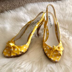 Wild Diva Shoes - Yellow polka dot heels